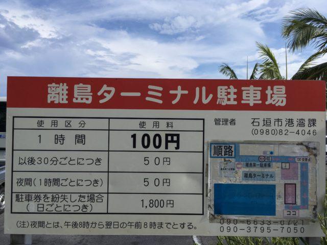 離島ターミナル第1駐車場の約款の写真